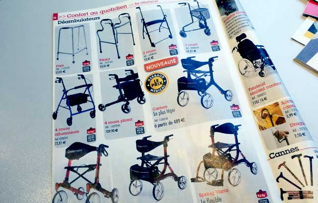 Zimmer frames in mail order catalogue
