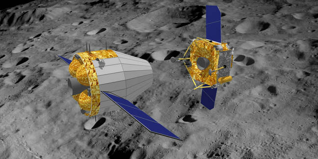 3D illustration of the separation of orbiter and lander of China's Moon sample return mission Chang'e-5 at moon.