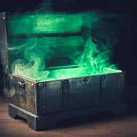 box opening green smoke