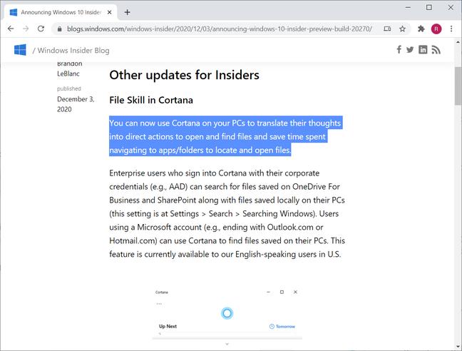 Cortana mindreading
