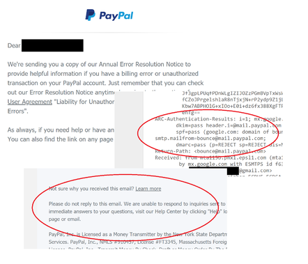 An example email received from PayPal, to an email recipient that has not knowingly opened an account. Points to note: this is not merely a verification email; it does seem to be really from PayPal according to the usual checks; and it cannot accept replies.