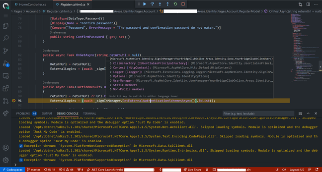 Debugging: hitting a breakpoint in browser-hosted Visual Studio Code for an application running in a GitHub Codespace