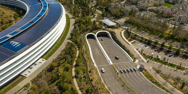 CUPERTINO, CA Aerial photo Apple Park Spaceship corporate headquarters California