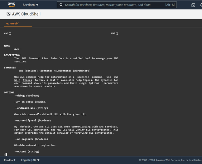 CloudShell is a Linux instance for managing or developing on AWS services, accessed through the browser.