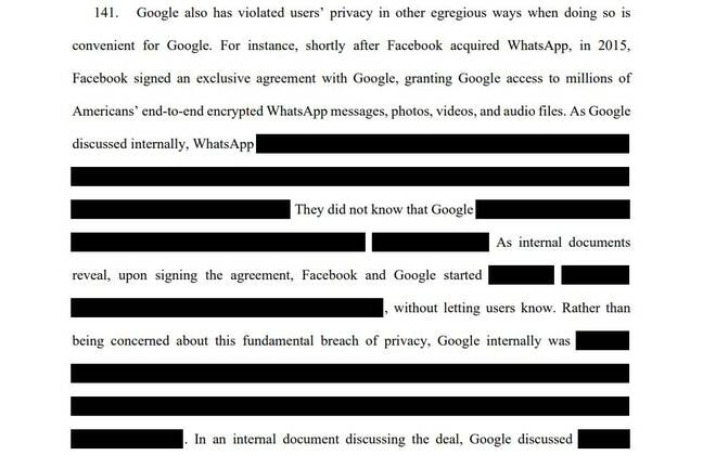 Page from Google lawsuit brought by Texas AG