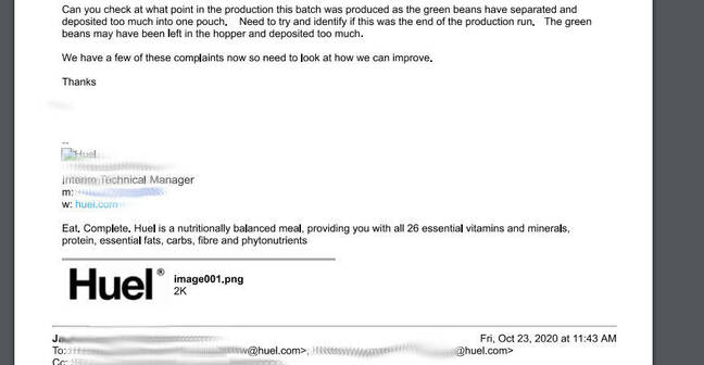 Huel appears to use a Probase-made application for internal tracking of complaints about its products. This email chain was freely viewable to all