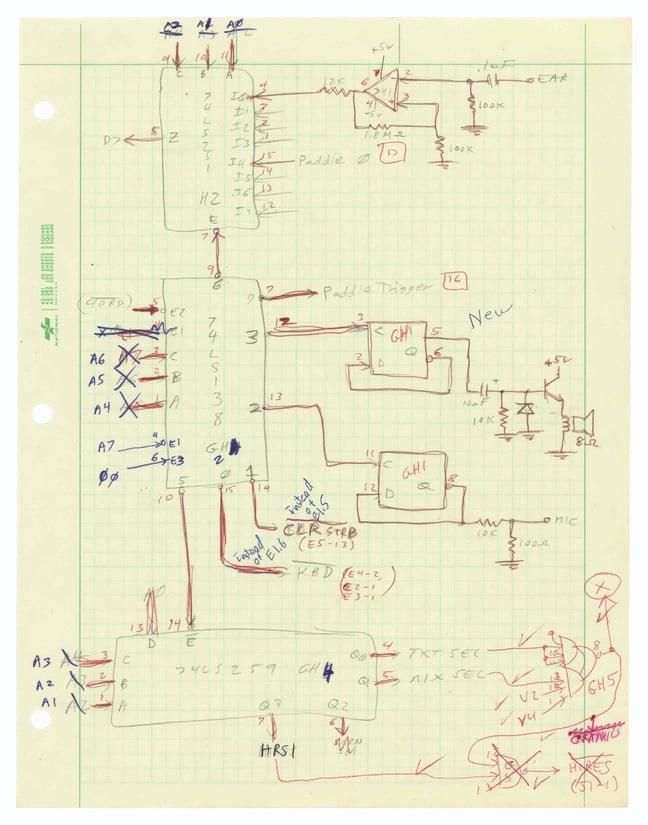 Steve Wozniak's notes for the Apple II prototype