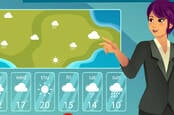 meteorologist forecasts clouds (conceptual illustration where the TV meteorologist points at forecast on green screen)