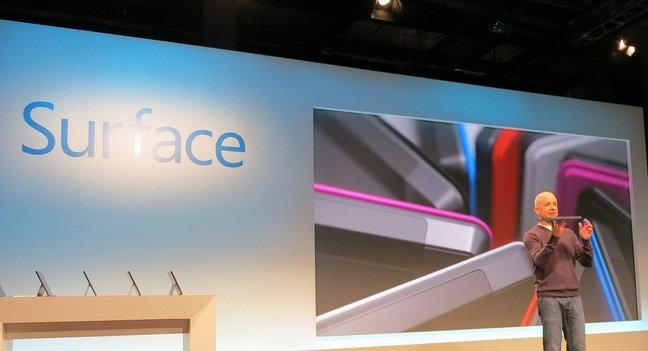Former Windows president Steven Sinofsky presents Surface at the New York launch, October 2012