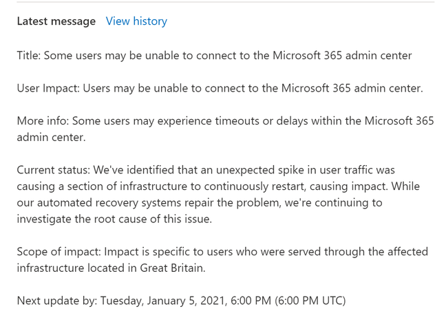 Microsoft 365 admin center outage