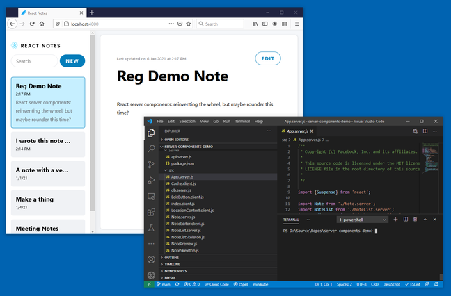 Trying the Server Components demo with Visual Studio Code and Docker