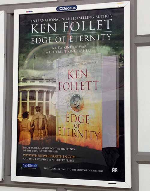 A billboard poster advertising a new book by Ken Follett but spelling his name wrong
