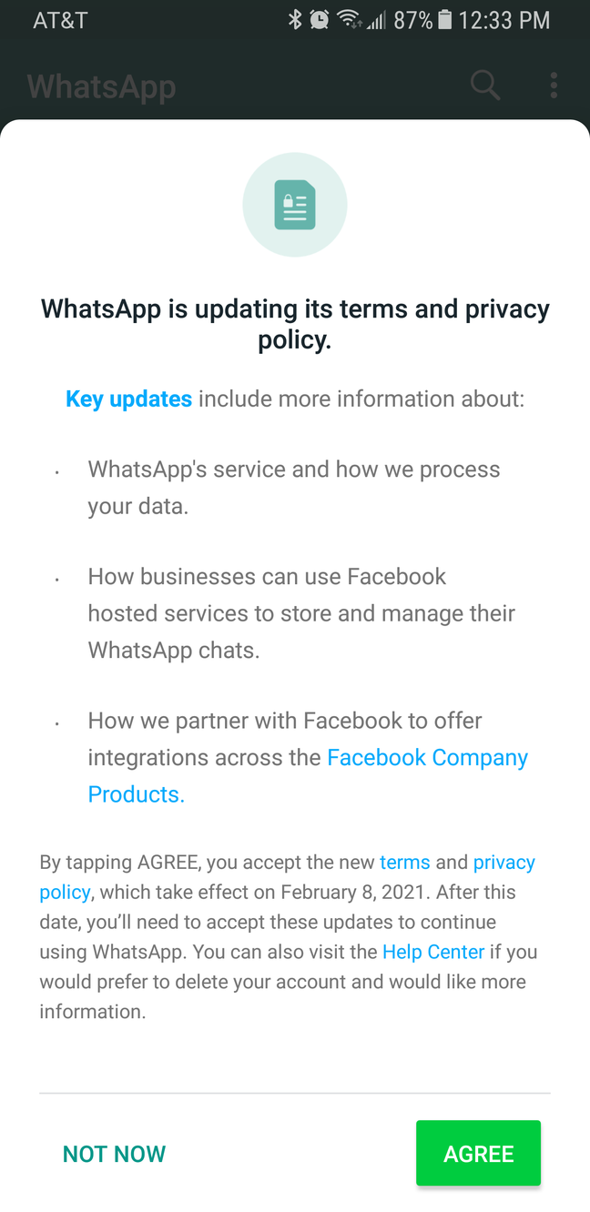 Screenshot of the mandatory WhatsApp privacy policy