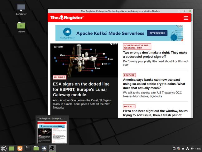 Linux Mint 20.1 показывает, как веб-сайт может отображаться в собственном окне как веб-приложение, закрепленное на панели для быстрого доступа