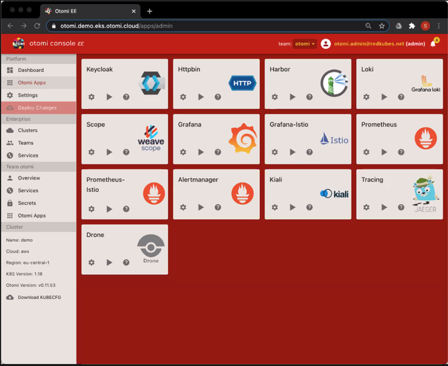 The Otomi dashboard showing various open source Kubernetes management applications