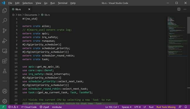 Editing code for Theseus: the developers recommend Visual Studio Code