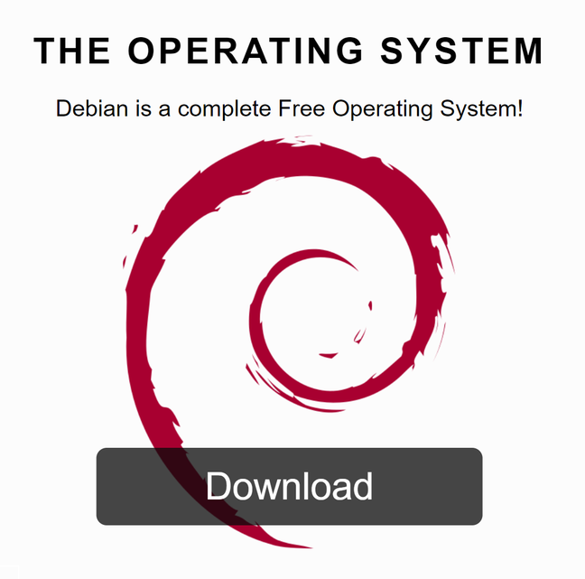 The download option on Debian's home page includes only free software, preventing it from installing on many users' machines