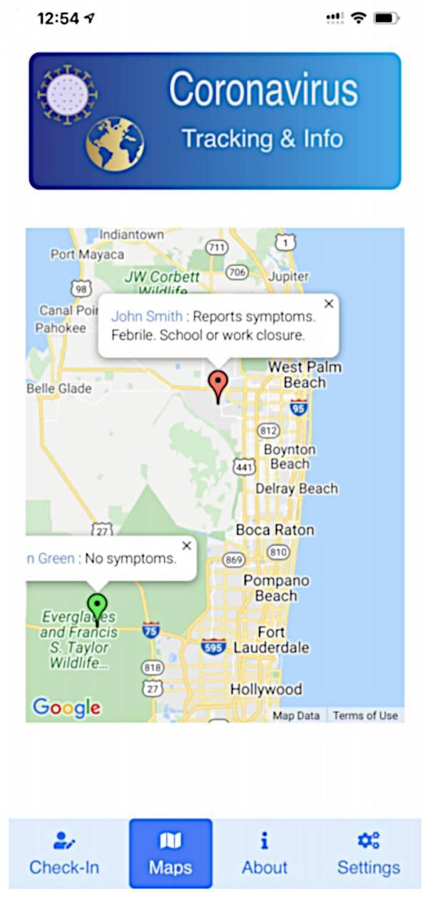 Screenshot of the Coronavirus Reporter app