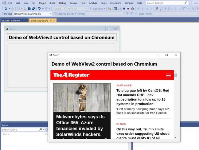 WebView2 basé sur Chromium a amélioré la prise en charge du débogage dans la dernière version préliminaire de Visual Studio.