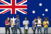 People using laptops and phones in front of the Australian flag