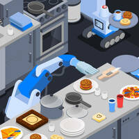 Illustration of robots working away in a home kitchen making food such as burgers and pizza