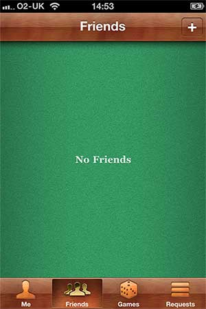 Screenshot showing an empty games room with the text 'No friends'