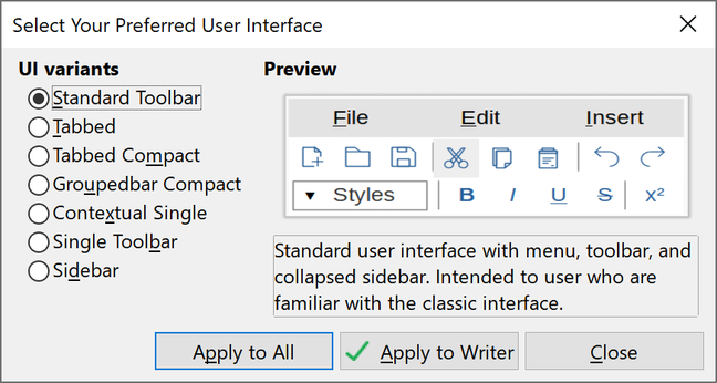 The User Interface dialog asks the user to choose between seven different options.