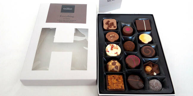 Hotel Chocolat chocolate box on white background. Hotel Chocolat is a British chocolatier and cocoa grower