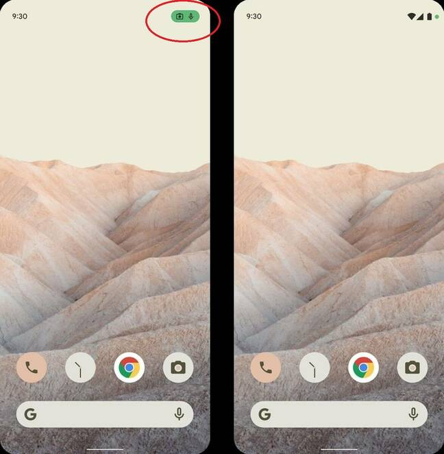 A status icon alerts users to use of the camera and microphone