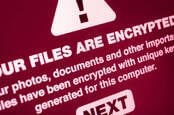 A mock-up of a message from a ransomware infection demanding money to decrypt scrambled files
