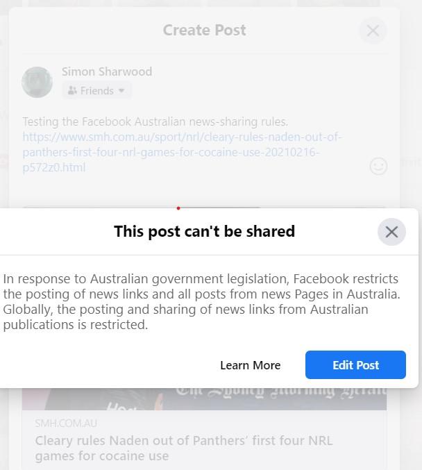 Facebook Australia content block notice