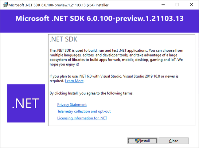 Installing the first preview of the .NET 6 SDK