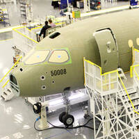 The Bombardier C-Series jet assembly line in Canada
