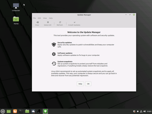 The Linux Mint update manager includes system snapshots, intended to reassure users that there is a route back