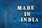 Circuit board with 'made in india' on it
