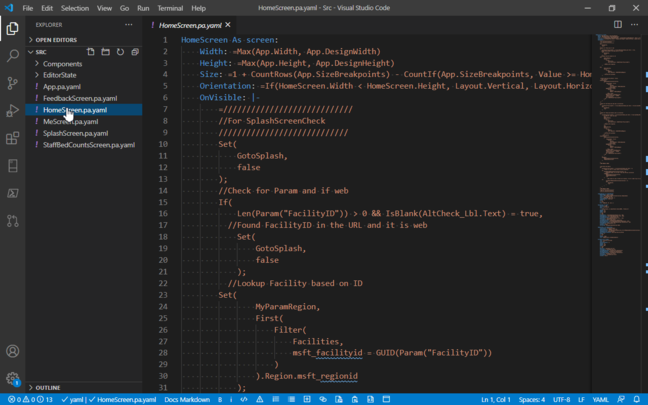 Power Fx can be embedded in YAML for source code control and editing with tools like VS Code