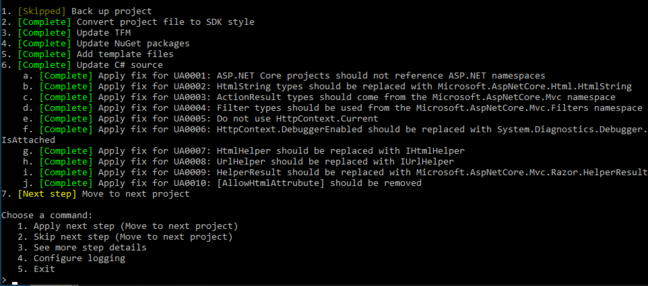 """A row of promising green """"Complete"""" statements gave us hope for a successful migration of our .NET Framework application"""