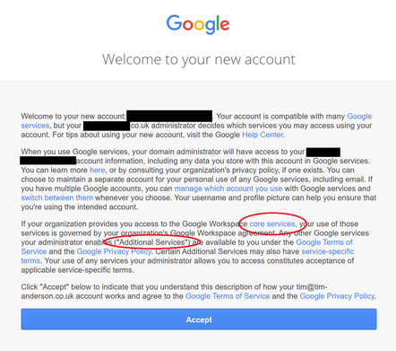 A user signing in to a Google Workspace account has to agree separately to the Core Services under their organisation's terms, and Additional Services under Google's terms. Which is used when? It's complicated.