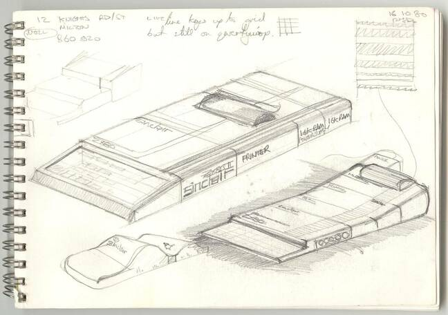 Rick Dickinson shared this sketch on Flickr, explaining: Tiny crude sketch in a cafe showing how I imagined the ZX81 to be an expandable range of boxes following a vagually modular approach with a common width. Judging by the sheep someone drew I might have been on holiday in Wales at the time? it