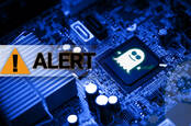 Illustration of the Spectre logo on a chip next to an 'alert' warning