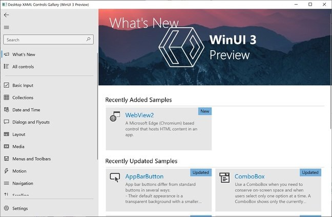 The XAML Control Gallery sample app compiled with the latest preview of WinUI 3