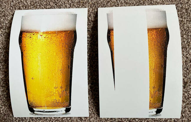 printer issues caused beer pint to print with white bar through golden brew