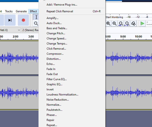 Audacity includes a huge range of effects, with more available via plugins