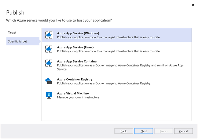 Is this what AWS wants to match? Microsoft's publish wizard in Visual Studio walks developers through several options for Azure deployment, and is smart about application dependencies such as database services