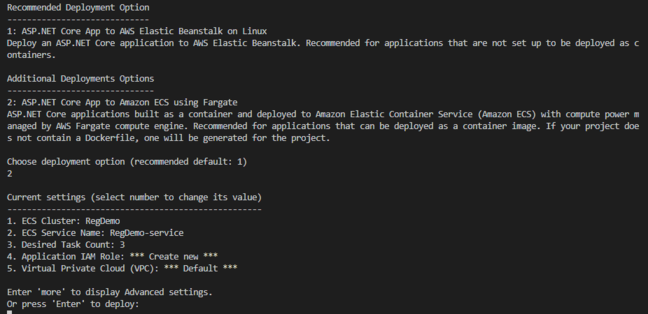 The AWS Deployment Tool recommended EC2 and Elastic Beanstalk but we chose the more interesting ECS option