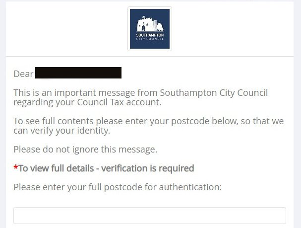 Southampton City Council was a user of this SMS service, using easily-found postcodes for 'authentication'