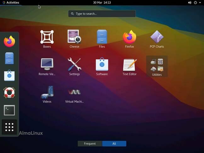 The AlmaLinux desktop
