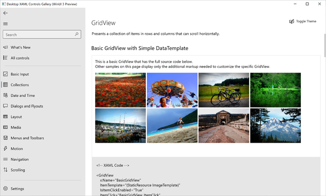 WinUI 3, графический интерфейс в Project Reunion, обеспечивает новейший визуальный дизайн Windows 10.