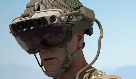 US military personnel wearing a Microsoft HoloLens