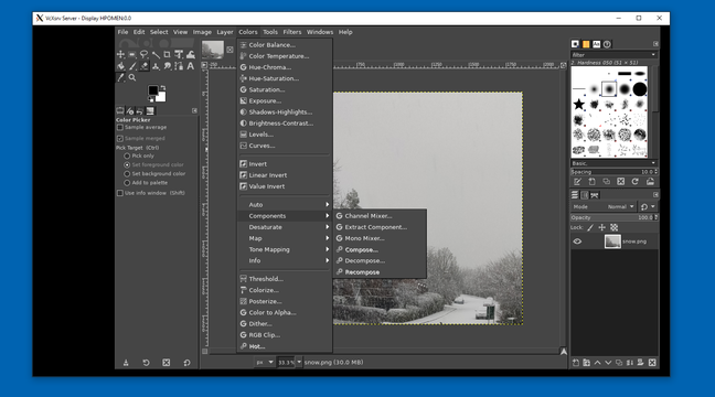 The GIMP image editor running on Linux on Windows